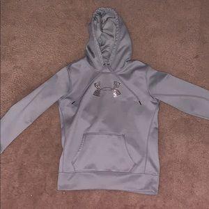 grey under armour sweatshirt (gems on logo)